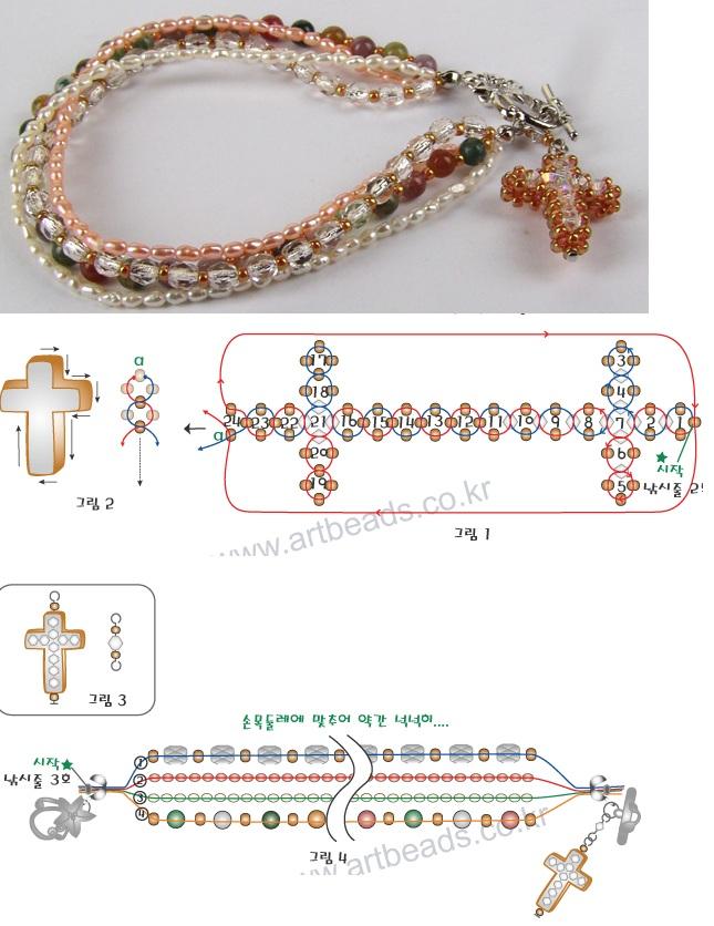 Схема плетения крестика из бисера