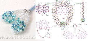 Бело-голубые тапочки из кристаллов.  Необычные брелочки из разноцветного бисера.  Подробные схемы их плетения.