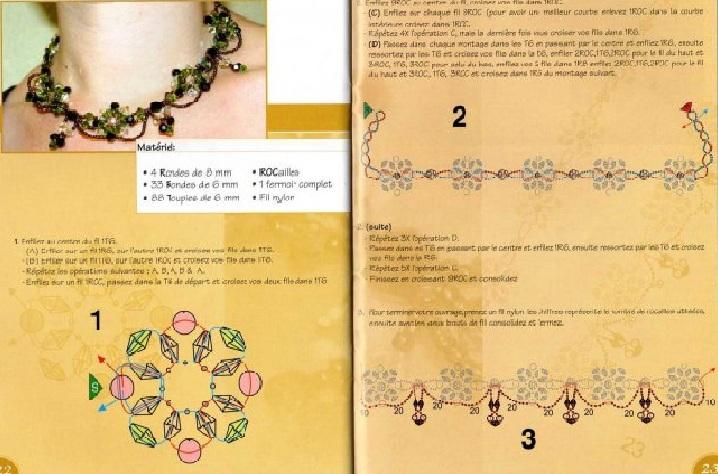 """Загрузок.  Просмотров.  Схемы и идеи. ul-chik.  22.04.2010. Колье  """"Большие и маленькие цветы """".  Дата."""
