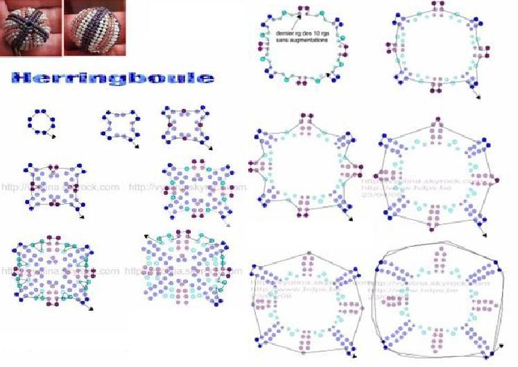 Круглые бусины оплетенные бисером.  Схема оплетения бусин для самостоятельного изготовления.