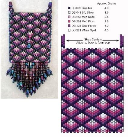 """Техника плетения сумочек  """"мозайкой """", ко дну пришиваются один или два ряда подвесок из бисера и бусин."""