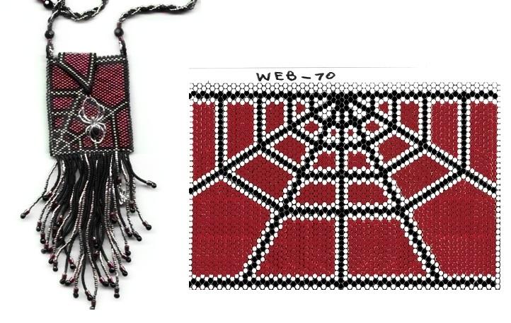 Схема плетения изделия из бисера.  Паутинка.