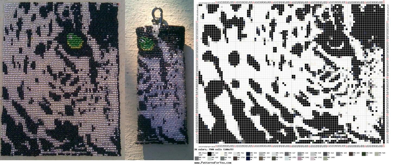 Для леопарда вам понадобится бисер белого, черного и несколько серых оттенков, как указано на схеме.