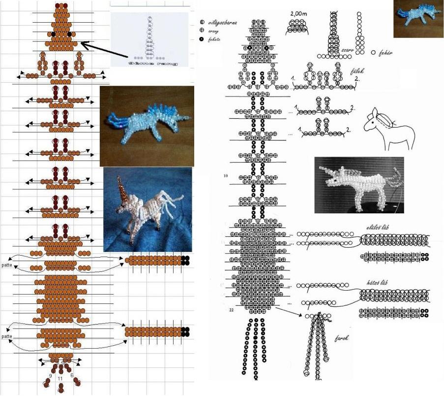 Схема плетения единорога из бисера.