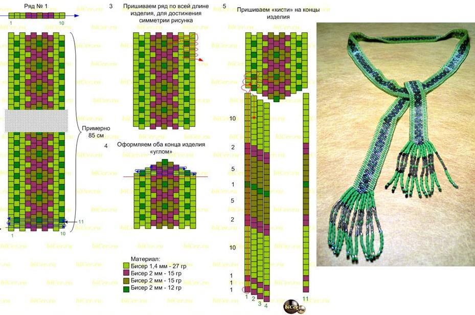 Схема плетения галстука из