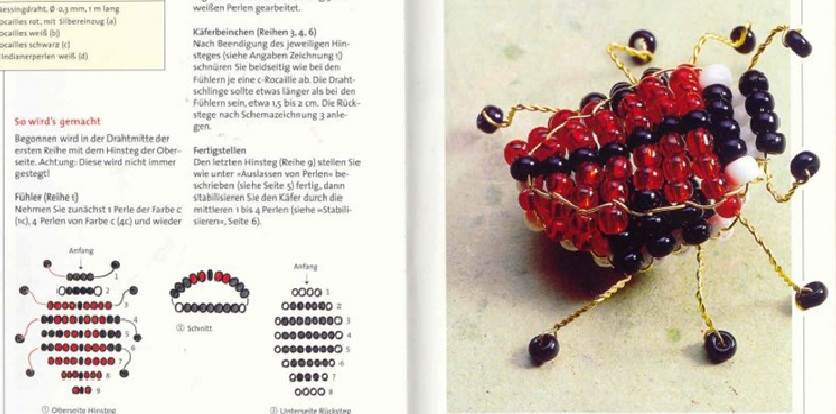 Насекомые.  Красный жук Вам понадобится: - красный бисер - белый бисер - черный бисер - проволока Жука плетите...