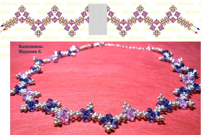Схема плетения из бисера ожерелье на шею нефертити.