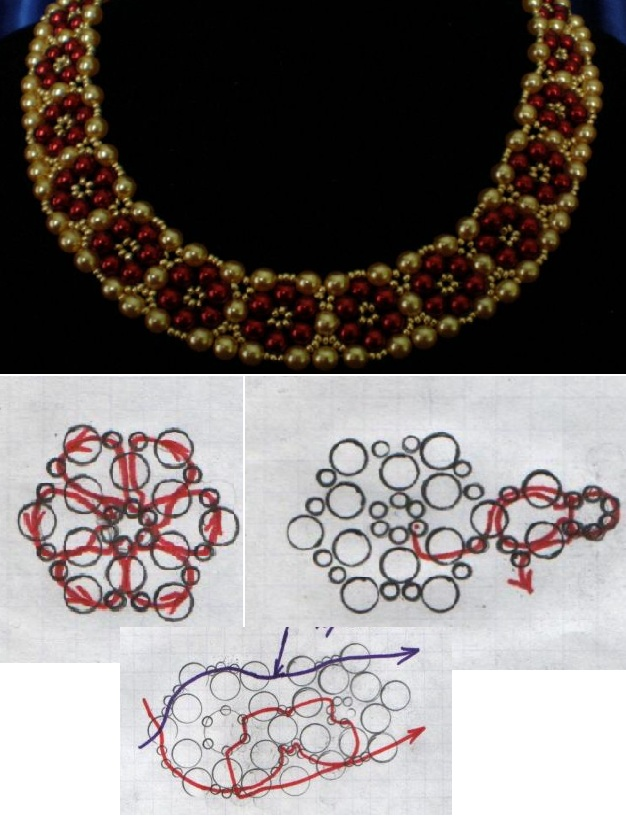 Три вида бус из бусин и камней