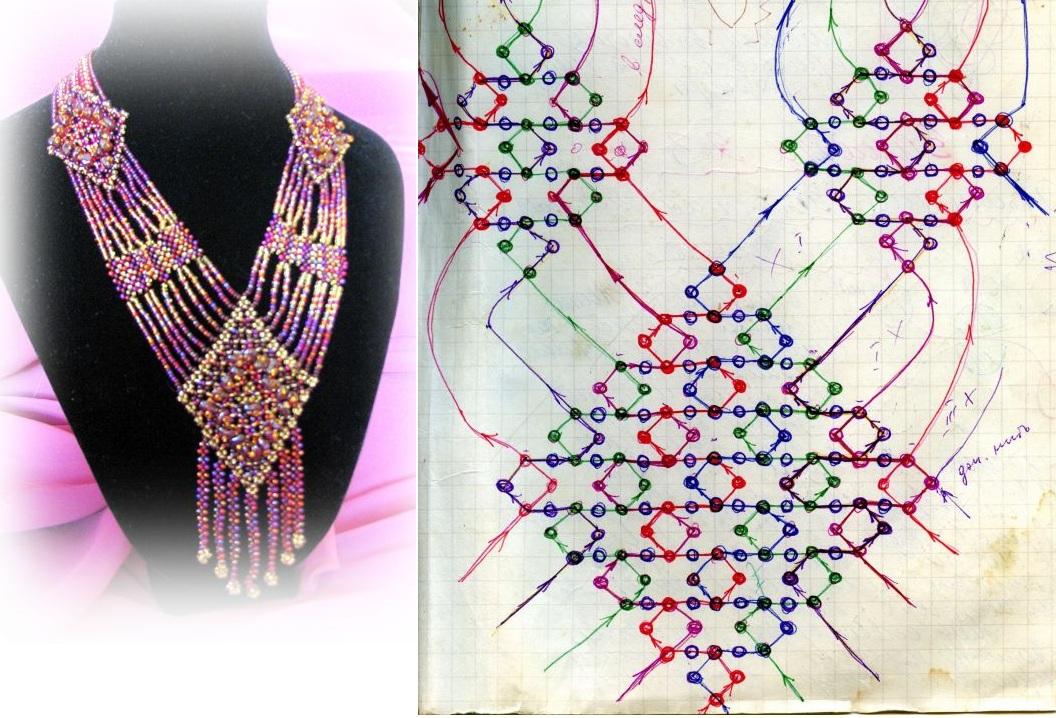 Ожерелье.  Схема плетения ожерелья из бисера.