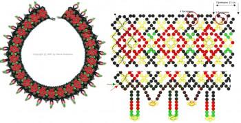 Узорное колье.  Схема плетения из бисера.