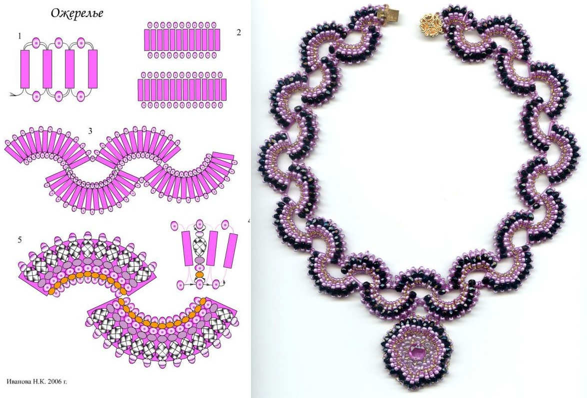 Схемы ожерелий из бусин