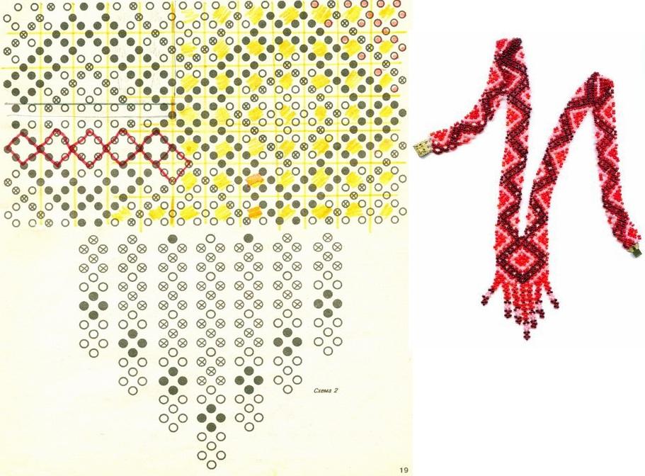 Шесть схем для ткачества бисером Продолжаем тему гердан от Анабель.  Плетем украшения на шею Для плетения этого...