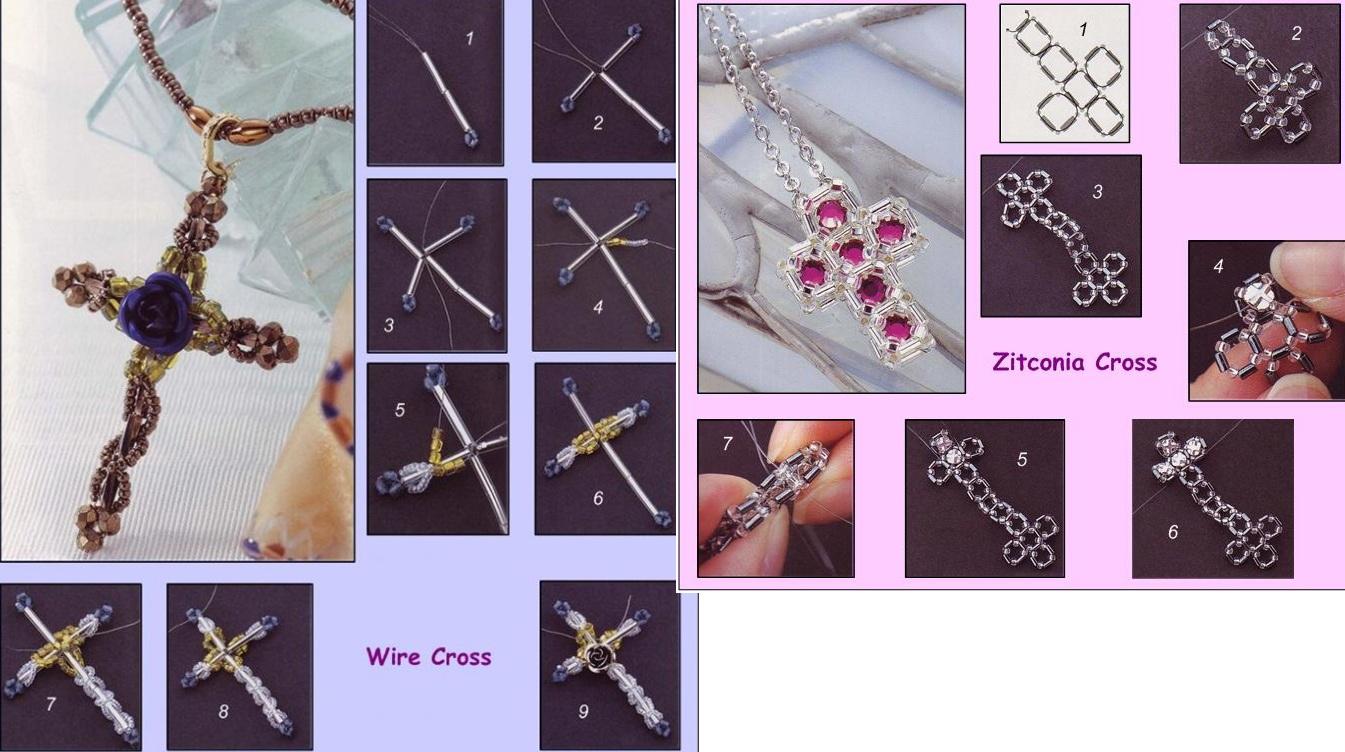 Схема крестика из бисера.