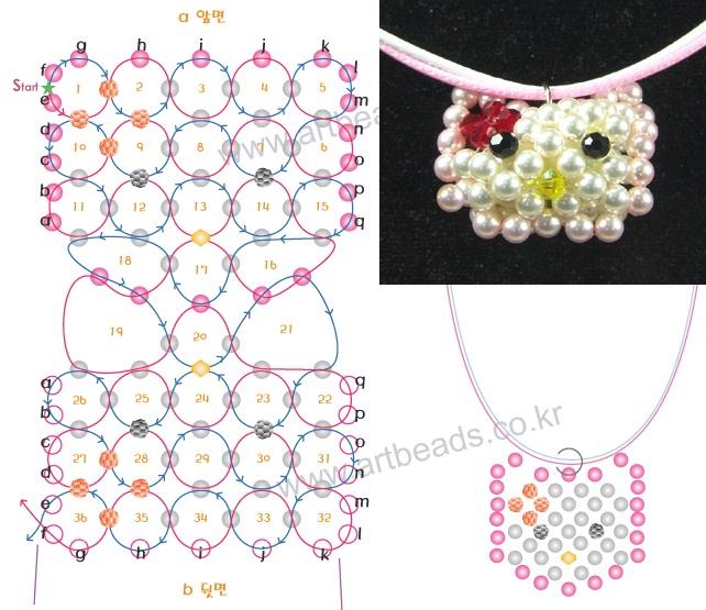 Схема плетения изделий из бисера.  Киса из белых бусин.
