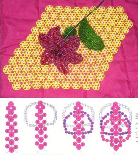 схема плетения лилии из бисера для начинающих.