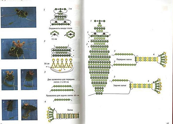 4 ноя 2012 Пять понятных схем плетения лягушат и жаб из бисера и бусин.