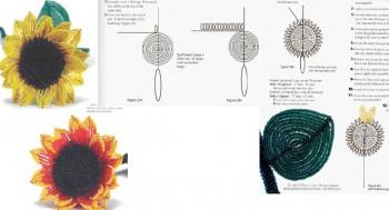 Подсолнух.  Схема плетения подсолнуха из бисера.