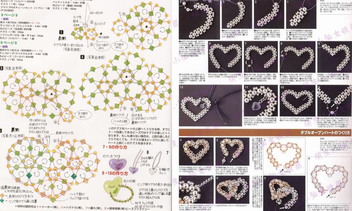 Сердечки.  Схема сердечек из бисера.