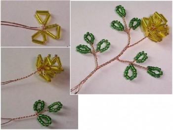 плетем желтые розы из стекляруса