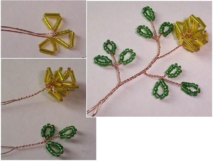 плетение бисером схема цветы роза.