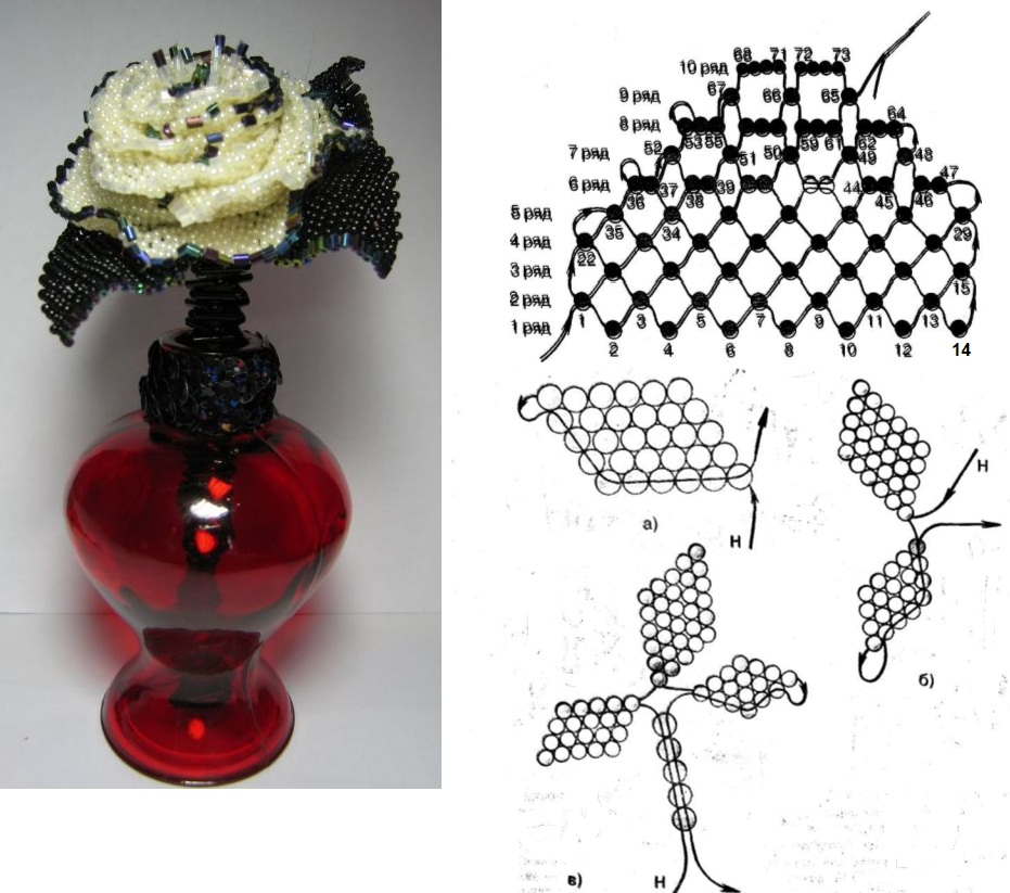 схема большая роза из бисера - О том, как плести бисером.