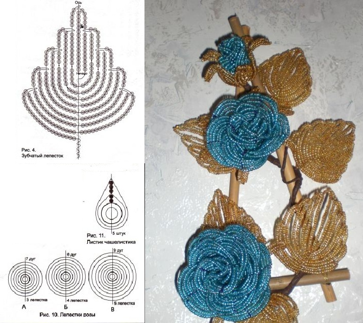 Наш цветок будет состоять из 5 рядов лепестков розы из бисера.