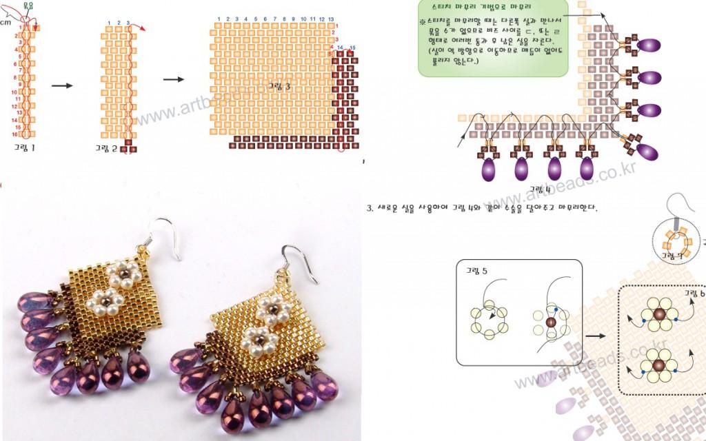 Схема плетения сережек из бисера.