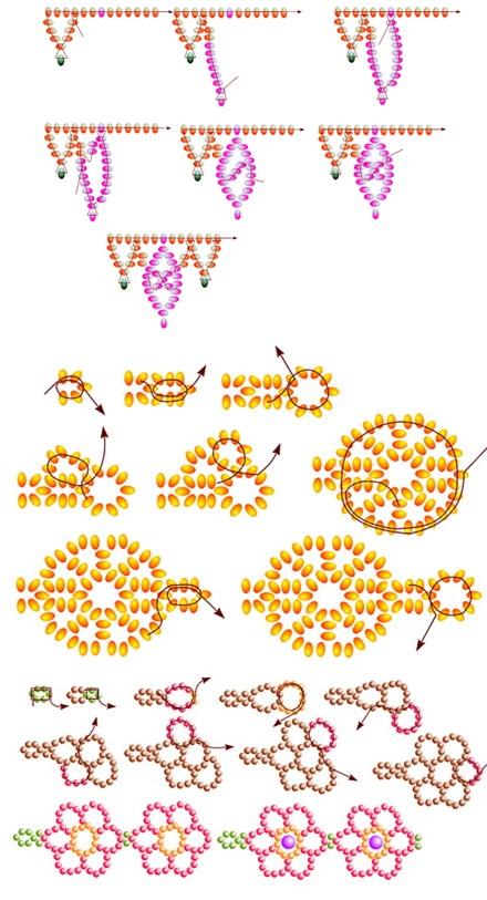 Схема ажурных цепочек из бисера.  Ажурные цепочки.