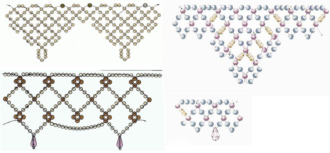 Схема плетения ажурных цепочек из бисера.  Ажурные цепочки.
