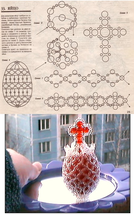 Пасхальное яйцо.  Схема оплетения яйца бисером.