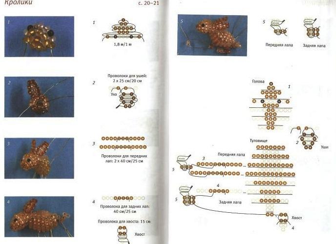 Объемные фигурки зайчиков из бисера.  Два варианта плетения маленьких зайчиков.  Милые сувенирчики или брелки.