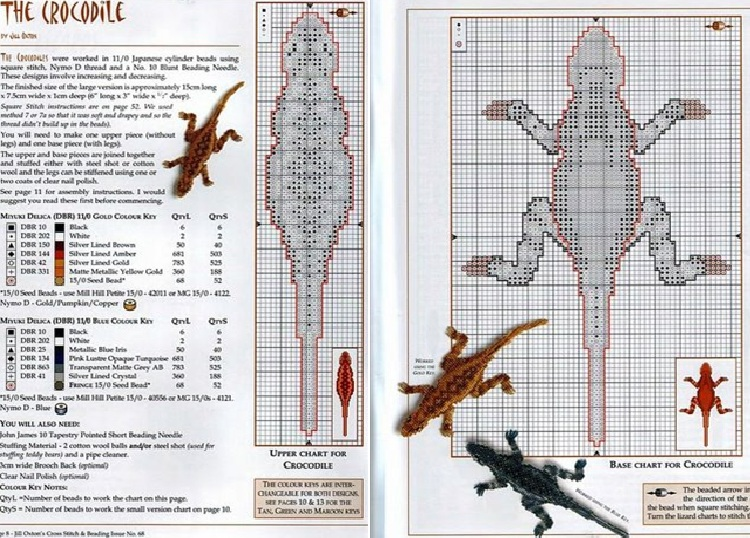 Схема плетения изделий из бисера.  Ящерки.
