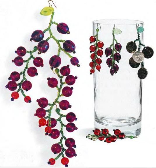 Ягода малина и виноград Красная смородина Потребуется: 0,5 г мелкого зеленого бисера, 1 крупная зеленая бисеринка...