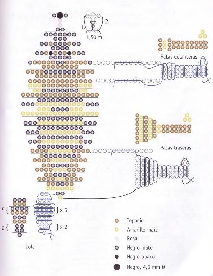 Фигурку дворняжки выполните способом параллельного плоского плетения на проволоке длиной 0,6 м (направление низания...