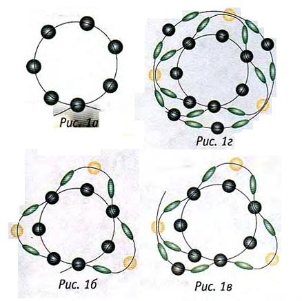 схема жгута-змейки. схема плетения жгута-змейки из бисера.