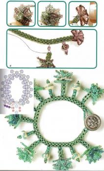 браслет с цветами из бисера