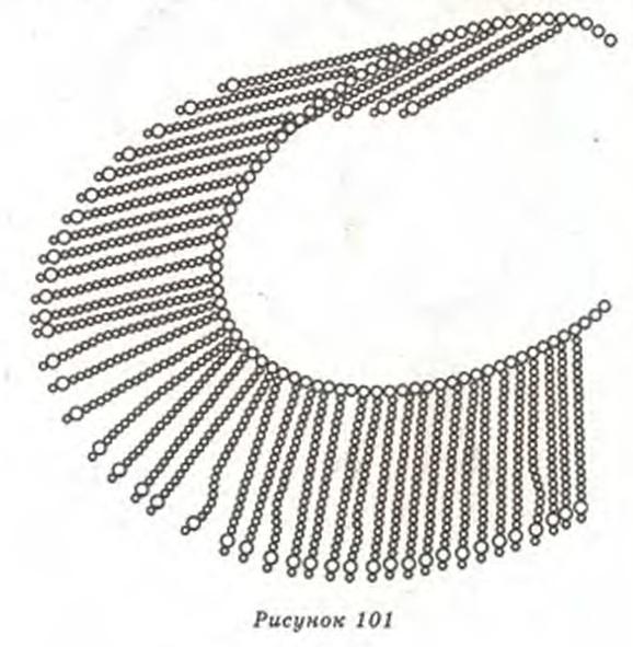 плетем украшение с бахромой из бисера