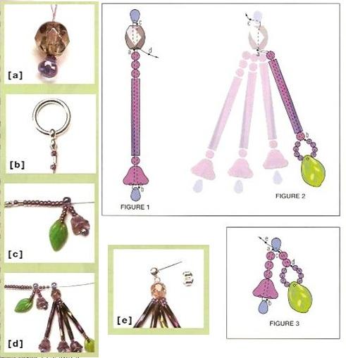 схема плетения комплекта из стекляруса. плетение колье и серег из бисера.