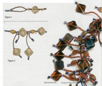 схема колье с подвесками из бисера