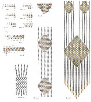 Перейти на сайт: Схемы сережек-ромбиков - мозаичное, кирпичное плетение, Peyote earrings patterns.