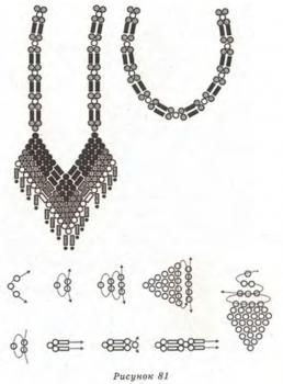 схема плетения кулона-ромбы из бисера. кулон с ромбами из бисера.