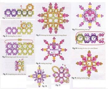 схема колье из цветов и бусин