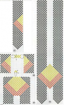 схема украшения с ромбом из бисера. схема плетения галстука с ромбом из бисера.