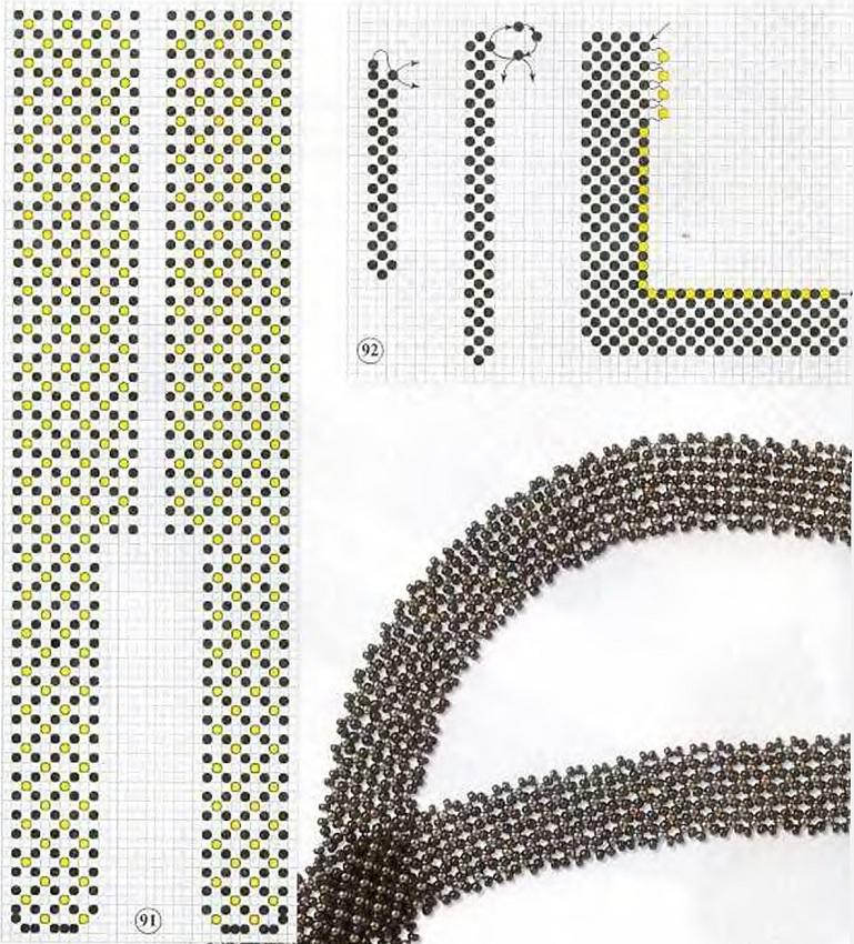 Схема галстука из бисера для