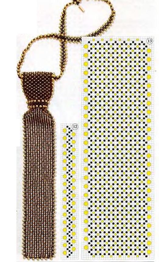 черный галстук с золотыми бусина