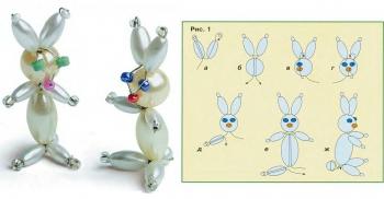 схема плетения зайца из бусин и проволоки