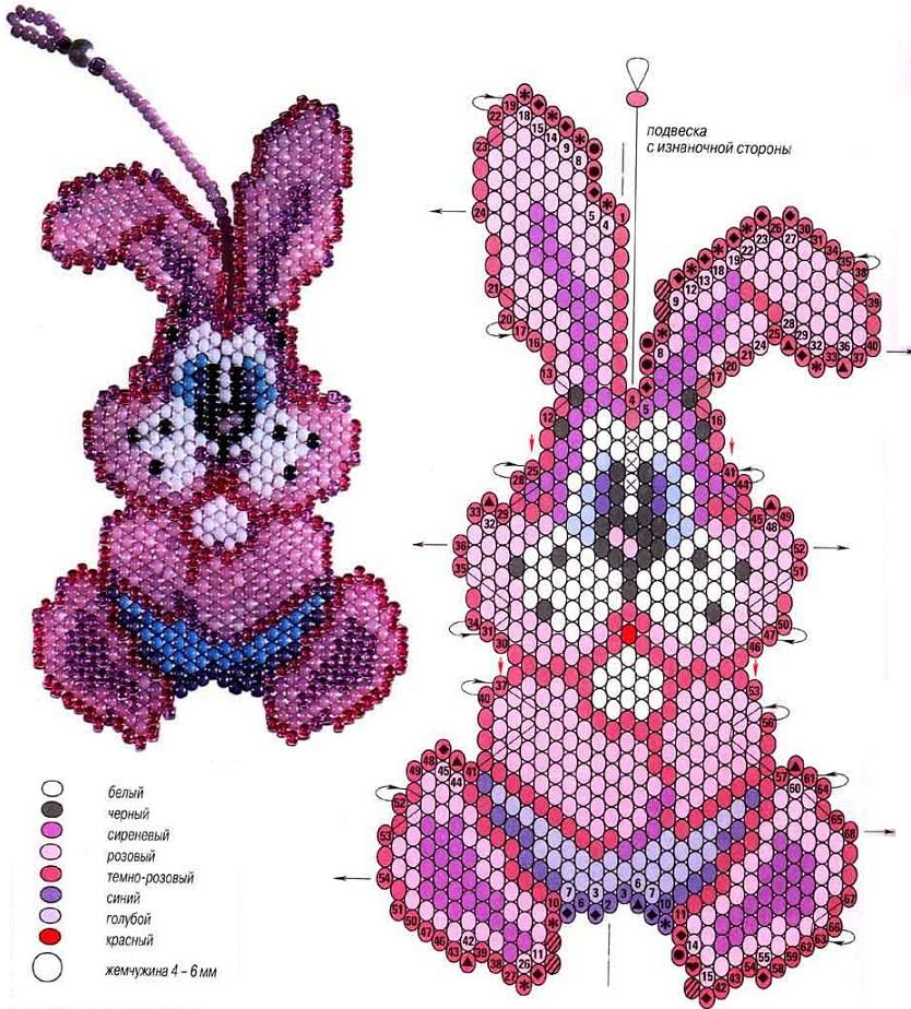 брелок, розовый заяц из бисера