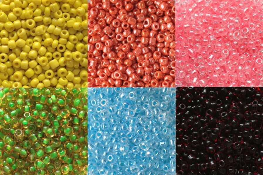 Бисер в пакетиках по 100гр разные цвета