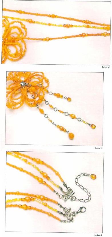 Желтый цветок сплетенный из бисера, на нити из бусин и бисера.  Пошаговая схема изготовления этого изделия.