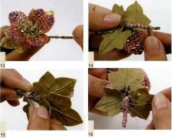 цветок. схема плетения цветка из бисера.